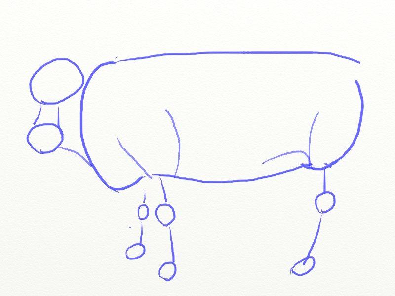 Как нарисовать корову, шаг 4