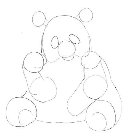 Как нарисовать панду, шаг 4