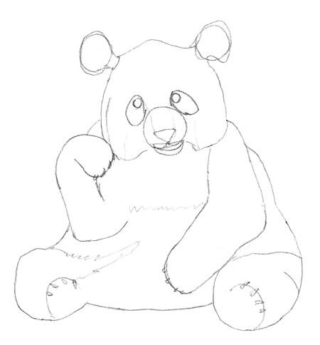 Как нарисовать панду, шаг 5