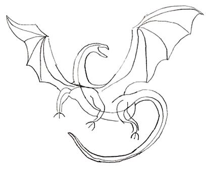 Как нарисовать дракону крылья