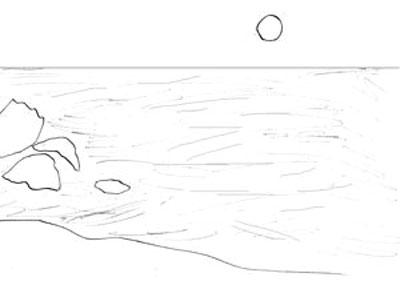 Как рисовать море, шаг 2
