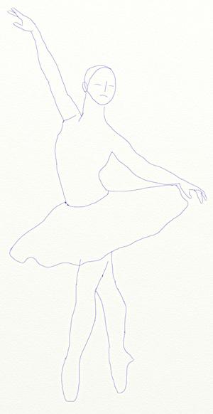 Как нарисовать балерину, шаг 4