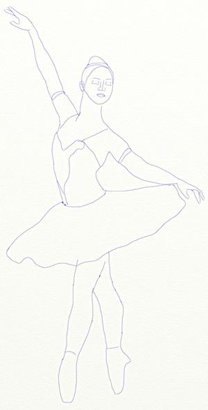 Как нарисовать балерину, шаг 5