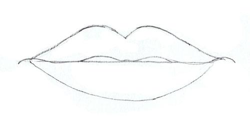 Как нарисовать губы человека, шаг 4