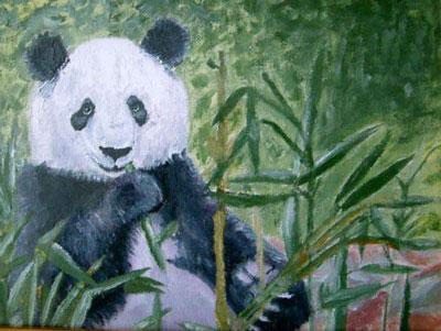 Рисунок панды масляными красками