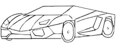 Как нарисовать спортивную машину, шаг 4