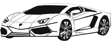 Как нарисовать спортивную машину, шаг 6